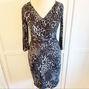 David Meister | Leopard V-Neck Dress